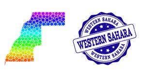 Dot Rainbow Map de Western Sahara y del sello del sello del Grunge ilustración del vector