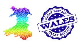 Dot Rainbow Map du Pays de Galles et du joint grunge de timbre illustration stock