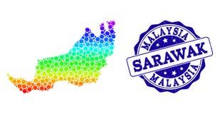 Dot Rainbow Map von Sarawak- und Schmutz-Stempelsiegel vektor abbildung