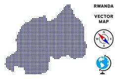 Dot Rwanda Map stock illustratie