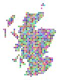 Dot Scotland Map multicolore illustrazione di stock