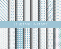16 dot seamless patterns. 16 blue dotted patterns, Pattern Swatches, vector, Endless texture can be used for wallpaper, pattern fills, web page,background Stock Photos