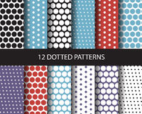 16 dot seamless patterns. 12 color dotted patterns, Pattern Swatches, vector, Endless texture can be used for wallpaper, pattern fills, web page,background Stock Images