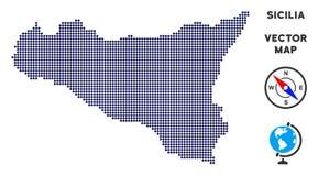 Dot Sicilia Map royalty-vrije illustratie