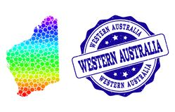 Dot Spectrum Map d'Australie occidentale et de joint grunge de timbre illustration stock
