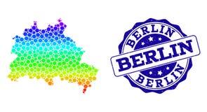 Dot Spectrum Map de Berlin City y del sello del sello del Grunge libre illustration