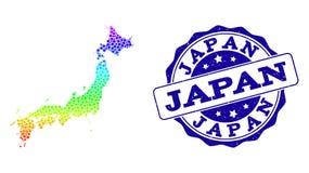 Dot Spectrum Map de Japón y del sello del sello del Grunge libre illustration