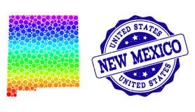 Dot Spectrum Map del estado de New México y del sello del sello del Grunge libre illustration