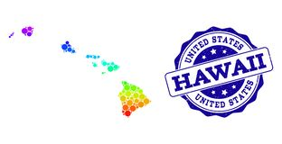 Dot Spectrum Map of Hawaii State and Grunge Stamp Seal vector illustration