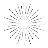 Dot sunburst. Halftone effect beams. Sun ray from points. Abstract dotted background. Vector. Dot sunburst. Halftone effect beams. Sun ray from points. Abstract stock illustration