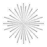 Dot sunburst. Halftone effect beams. Sun ray from points. Dotted background. Vector illustration stock illustration