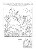 Dot-to-dot activity page - butterflies. Connect the dots picture puzzle and coloring page, spring or summer joy themed, with butterflies, flowers, grass. Answer vector illustration