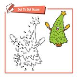 Dot to dot  with cartoon christmas tree. Vector illustration of dot to dot educational puzzle game with happy cartoon character for children Stock Images