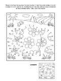Dot-to-dot and coloring page with 3 Easter eggs. Easter themed connect the dots picture puzzle and coloring page with three painted eggs. Answer included vector illustration