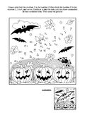 Dot-to-dot and coloring page - Halloween bat royalty free illustration