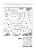 Dot-to-dot and coloring page - Happy New Year! greeting Royalty Free Stock Photos