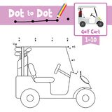 Dot to dot educational game and Coloring book Golf Cart cartoon character side view vector illustration