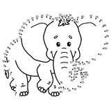 Dot to dot elephant game. Royalty Free Stock Photos