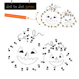 Dot to dot game: halloween pumpkins. Connect the dots game with cute halloween pumpkins. Eps file available Royalty Free Stock Photo