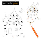 Dot to dot game: haunted house. A funny quiz for Halloween: Connect the dots game with haunted house. Eps file available Stock Photography