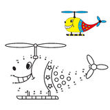 Dot to dot game, helicopter coloring book for Stock Photo