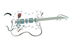 Dot to dot guitar. A dot to dot illustration of an electric guitar vector illustration