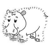 Dot to dot hippopotamus game. Stock Images