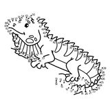 Dot to dot iguana game. Royalty Free Stock Photo