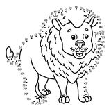 Dot to dot lion game. Royalty Free Stock Photo