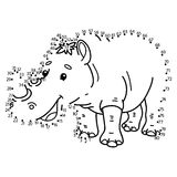 Dot to dot rhinoceros game. Vector illustration of dot to dot puzzle with happy cartoon rhinoceros for children Stock Photo