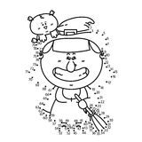 Dot to dot witch game. Stock Photo