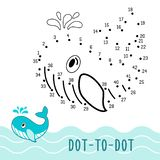 Dot to dot game number connect dots whale stock illustration