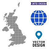 Dot United Kingdom Map. Vector territorial scheme in dark gray color. Dots have rhombic form stock illustration