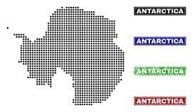 Antarctica Continent Map in Dot Style with Grunge Title Stamps. Dot vector abstracted Antarctica continent map and isolated clean black, grunge red, blue, green vector illustration