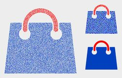 Dot Vector Airport Shopping Bag Icons. Pixel and mosaic airport shopping bag icons. Vector icon of airport shopping bag created of scattered spheric elements royalty free illustration