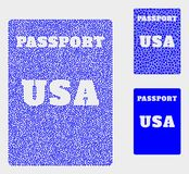 Dot Vector USA Passport Icons. Dot and mosaic USA passport icons. Vector icon of USA passport organized of random spheric items. Other pictogram is organized stock illustration