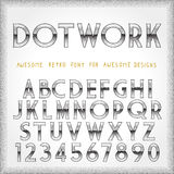 Dot Work Alphabet in 80s Retro Futurism style. Vector tattoo style font vector illustration