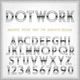 Dot Work Alphabet in 80s Retro Futurism style Stock Photos