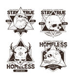 Dot Work Skull Emblems Images stock