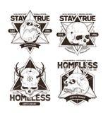 Dot Work Skull Emblems Stock Images