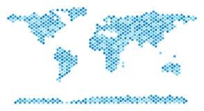 Dot World Continent Map azul Foto de archivo