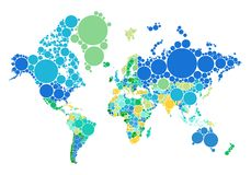 Dot world map with countries, vector Royalty Free Stock Photos