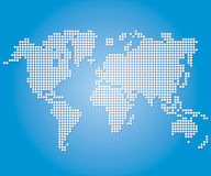 Dot World maps and globes on blue color background. Vector Royalty Free Stock Image