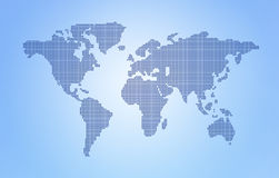 Dot World map. S and globes business background stock photography