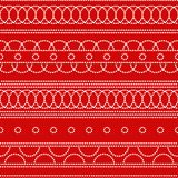 Doted circles geometric seamless pattern in red and white, vector. Background Stock Photo