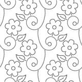 Doted flowers leaves and vines seamless pattern in black and white, vector. Background Stock Images