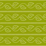 Doted ivy leaves and stripes geometric seamless pattern in green and white, vector Royalty Free Stock Image