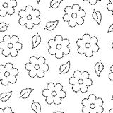 Doted sakura flowers and leaves seamless pattern in black and white, vector. Background Stock Photography