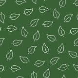 Doted simple leaves seamless pattern in green and white, vector. Background Royalty Free Stock Image