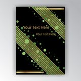 Dotes and diagonal lines page decoration with bokeh. Shiny and glow sequins graphic template green and black template stock illustration